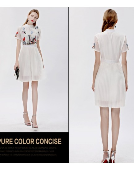 BDS10300565B Pleated embroidery cheongsum dress REAL PHOTO