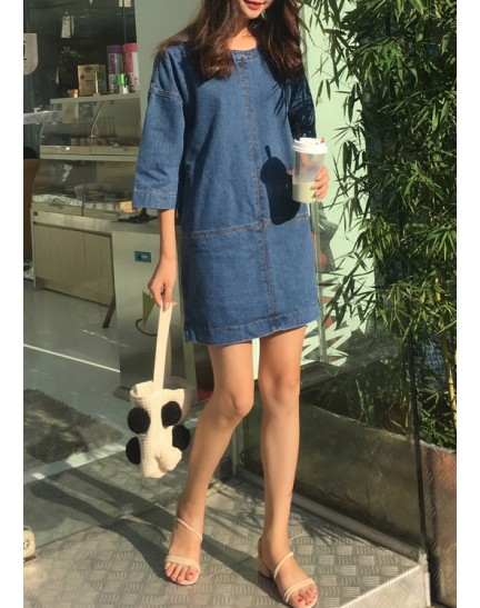 KDS10307112L V back denim dress REAL PHOTO