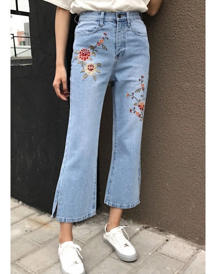 KPT10303502L Split embroidery denim pants REAL PHOTO