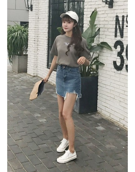 KSK10316602L RIP denim skirt REAL PHOTO