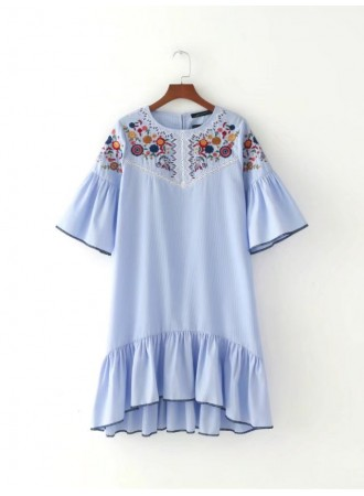 BDS11021001Y Stripes embroidery dress REAL PHOTO