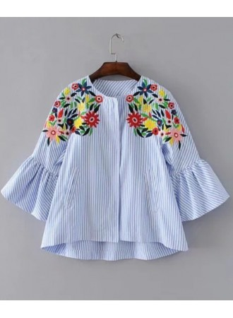 BTP11021002Y Stripes embroidery blouse with trumpet sleeves REAL PHOTO