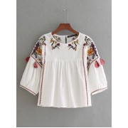 BTP11021004Y Linen ethnic embroidery blouse REAL PHOTO