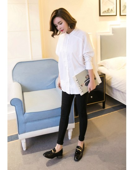 KTP11103006C High neck shirt with crochet shoulder REAL PHOTO