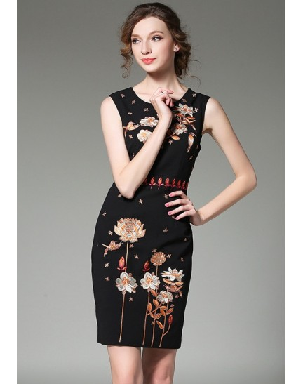 BDS11105615X Floral embroidery dress REAL PHOTO