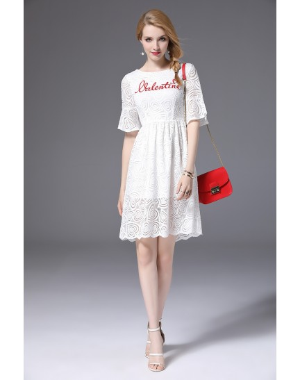 BDS11137305L Heart shape embroidery lace dress REAL PHOTO