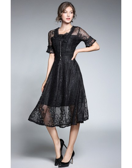 BDS11170016X V neck lace dress in 4 colors REAL PHOTO