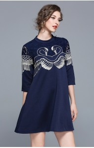 BDS11179016X Swan embroidery dress with lace shoulder REAL PHOTO
