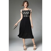 BDS11175016X Pleated lace dress REAL PHOTO