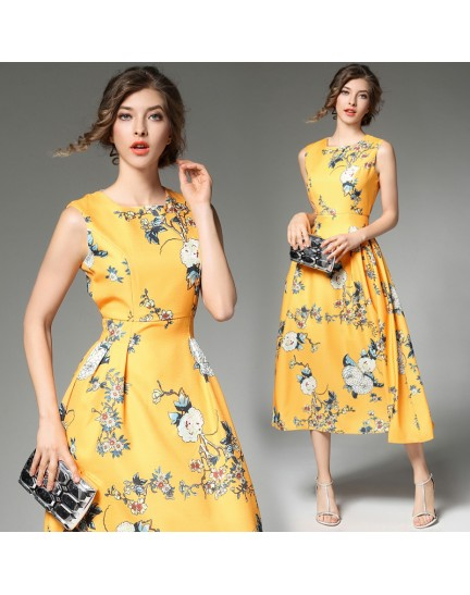 BDS11187906X Floral dress in yellow REAL PHOTO