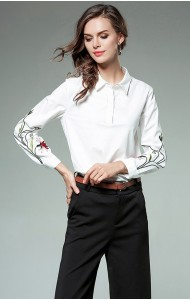 BTP11185202X Shirt with embroidery sleeves REAL PHOTO