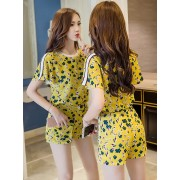 BDS1122002D Yellow floral pants suit REAL PHOTO