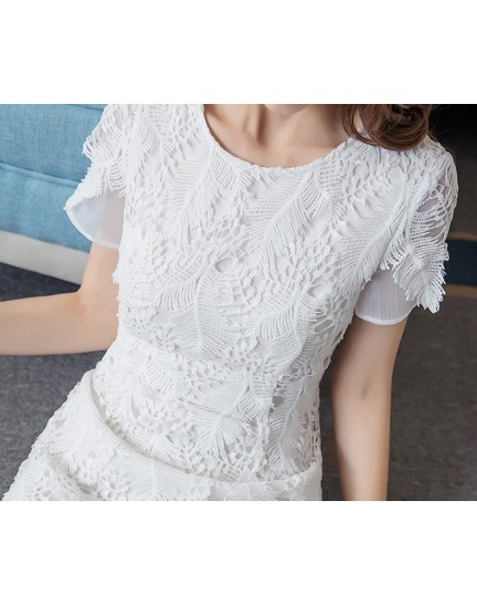 BDS1122003D Trumpet embroidery leaf dress REAL PHOTO