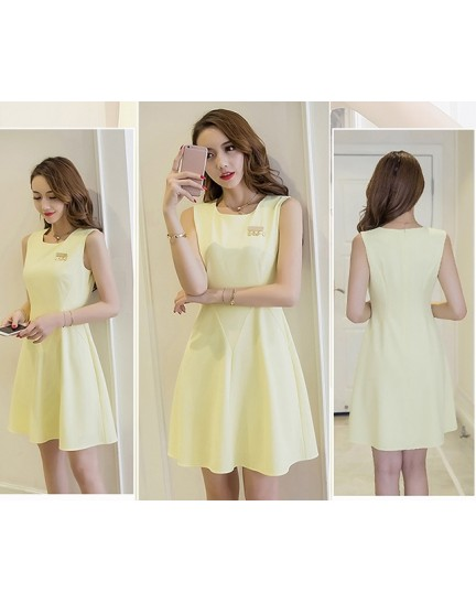 BDS1123001D Yellow skater dress with LOVE badge REAL PHOTO