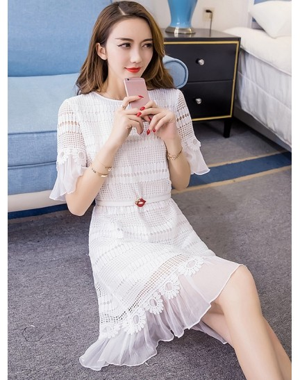BDS1123005D Crochet trumpet white dress REAL PHOTO