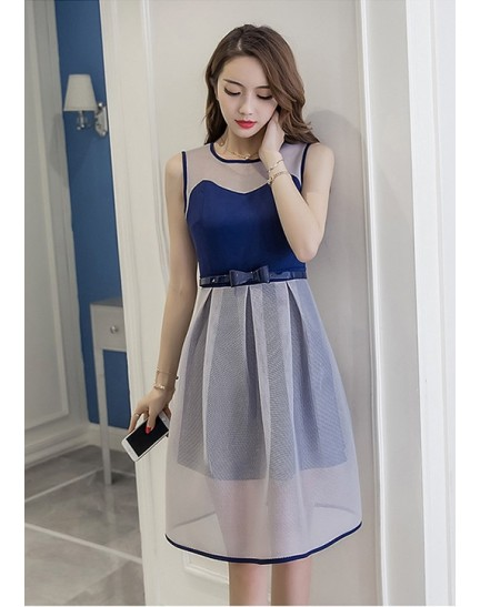 BDS11240015D Netting belted dress REAL PHOTO