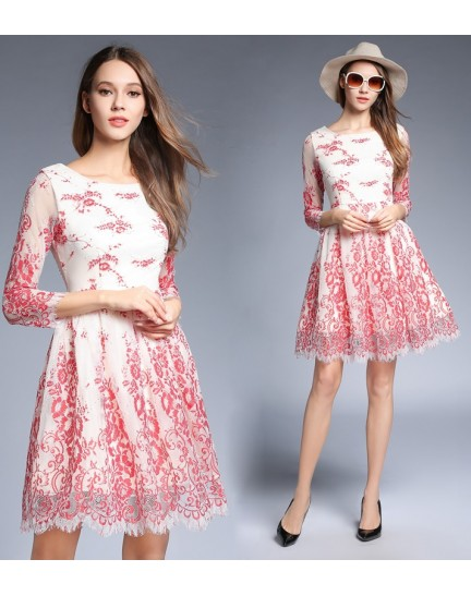 BDS1128219A Embroidery lace dress REAL PHOTO