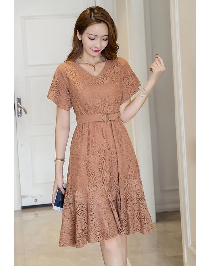 BDS1128002T Full lace belted trumpet dress REAL PHOTO