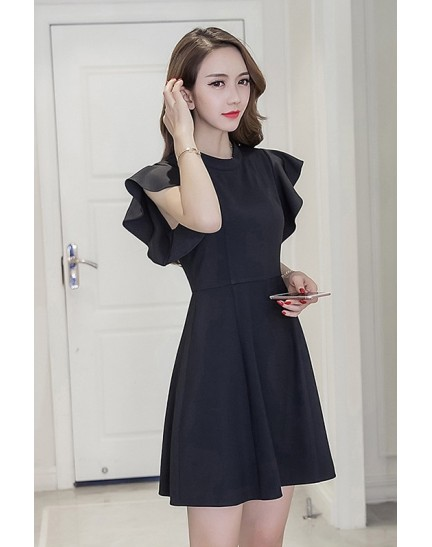 BDS1128003T Trumpet sleeves skater dress REAL PHOTO