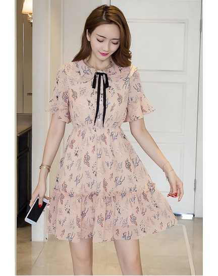 BDS1129001T Trumpet sleeves floral printed dress REAL PHOTO