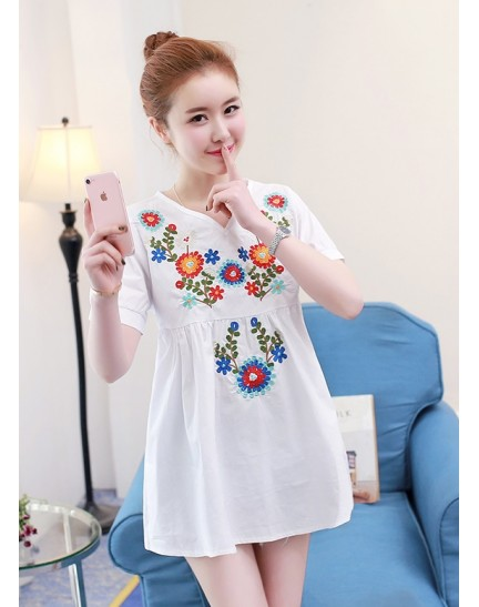 KTP1130926M V neck embroidery wawa top REAL PHOTO