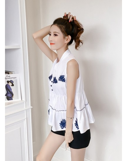 KTP11308789H V neck embroidery wawa top REAL PHOTO
