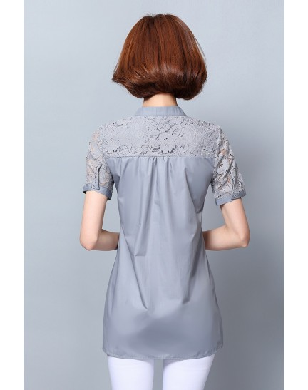 KTP12019929C Plus size lace blouse REAL PHOTO