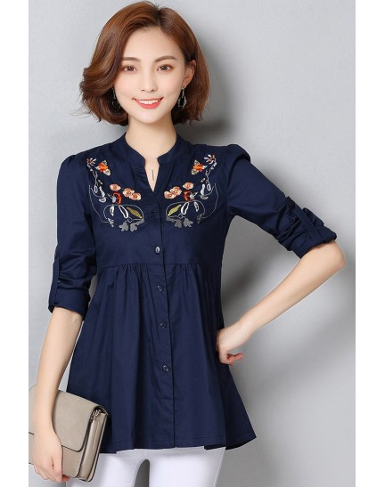 KTP12015039C Plus size roll up sleeves embroidery blouse REAL PHOTO