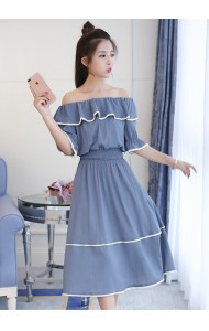 KDS12028009Y Off shoulder tiered dress REAL PHOTO