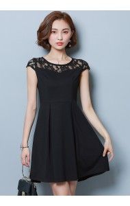 KDS1202962K Lace shoulder pleated dress REAL PHOTO