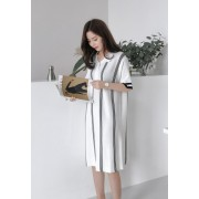 KDS120325303D Polo knit stripe dress REAL PHOTO