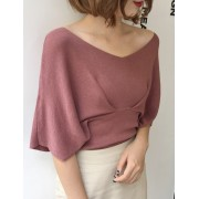KTP120319303D V neck bat wing knit blouse REAL PHOTO