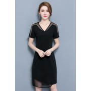 KDS12077188G Plus size V neck netting dress REAL PHOTO