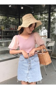 KTP120733303D Korea puff sleeves knit top REAL PHOTO