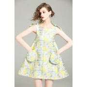 BDS12084726D Jacquard pocket dress with bow REAL PHOTO