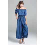 BDS12086626D Off shoulder soft jeans jumpsuit REAL PHOTO