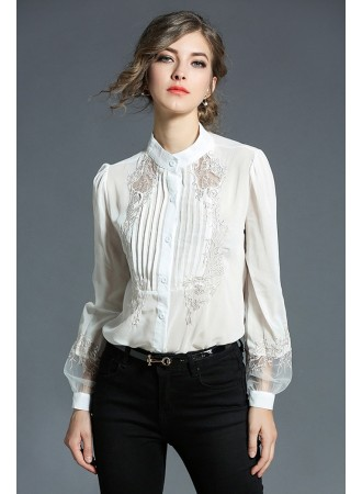 BTP12085503X Embroidery retro puff sleeves shirt REAL PHOTO
