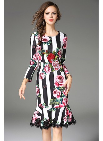 BDS12088033Q Stripes embroidery printed dress REAL PHOTO