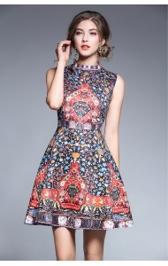 BDS12082203Q High neck jacquard dress REAL PHOTO