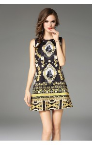 BDS12080849H Jacquard printed shift dress REAL PHOTO