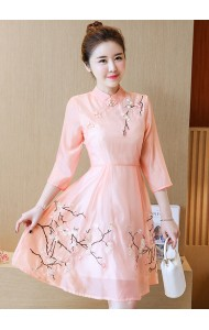 KDS12098323Y Organza embroidery middle sleeves cheongsum dress REAL PHOTO