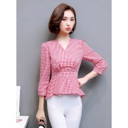 KTP1209162X Peplum V neck plaid blouse REAL PHOTO