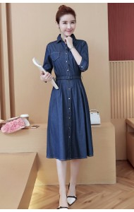 KDS12098288Y Soft denim belted dress REAL PHOTO