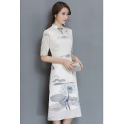 KDS12102766T Printed cheongsum dress REAL PHOTO