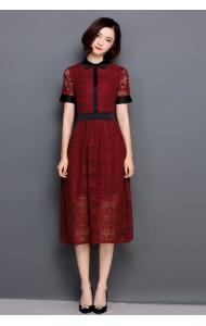 KDS1210805T Maroon lace dress REAL PHOTO