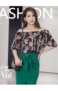 KTP1211209Y Floral off shoulder blouse REAL PHOTO