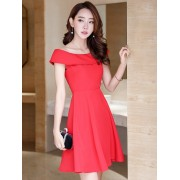 KDS12113785H Off shoulder skater dress REAL PHOTO