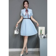 KDS12115885H Pleated dress with bow REAL PHOTO