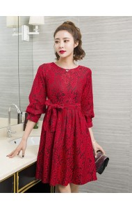 KDS12117985H Puff sleeves full lace dress REAL PHOTO