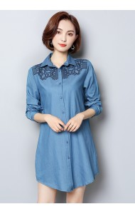 KDS12117588J Embroidery soft denim shirt REAL PHOTO